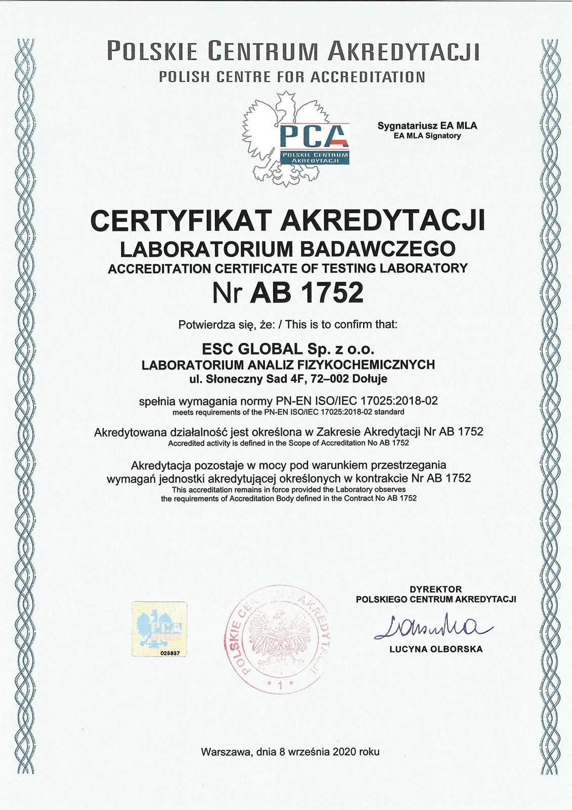 Certyfikat Akredytacji Nr AB 1752